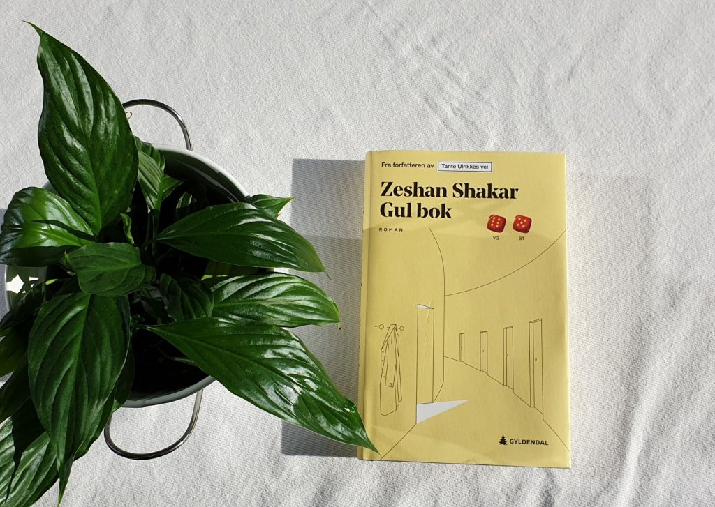 """oka """"Gul bok"""" ligger på et bord med hvit duk, til venstre er det en grønn plante. Foto: Av en annen verden © 2020"""