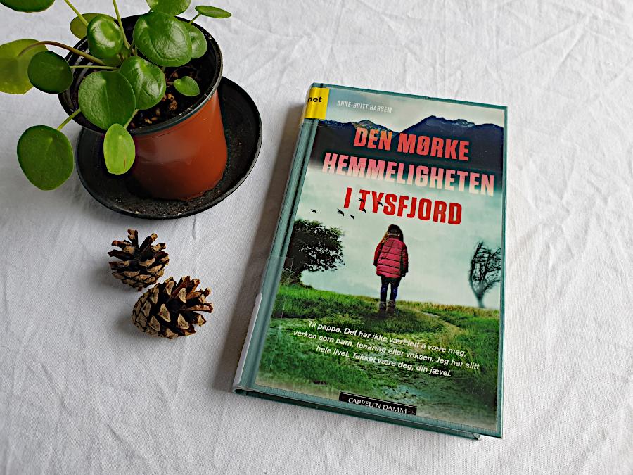 """Boka """"Den mørke hemmeligheten i Tysfjord"""" ligger på et bord med hvit duk. Til venstre er det æverst i hjørnet ei grønn plante, og under den to kongler. Foto: Av en annen verden © 2021"""